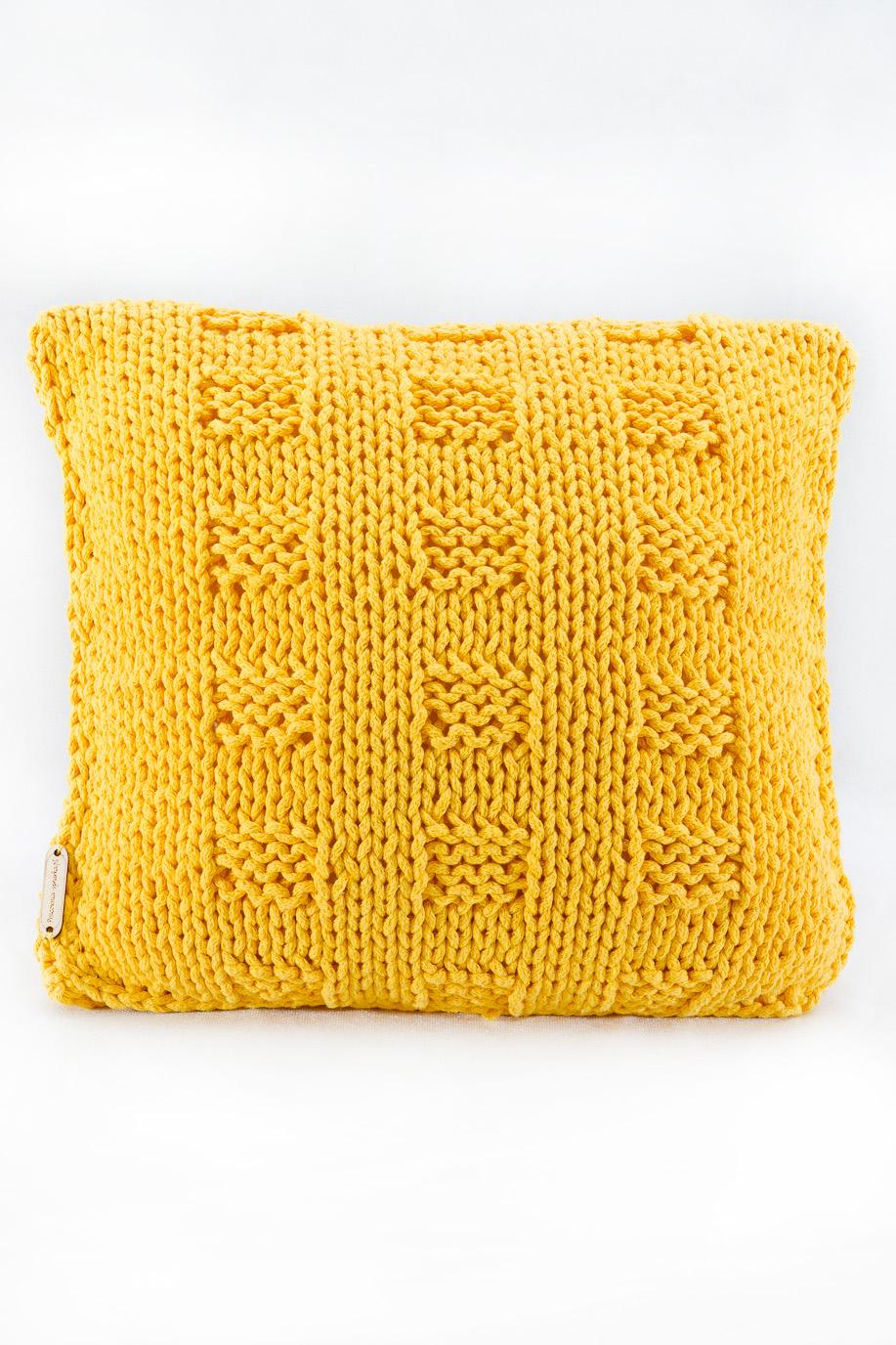 Dekoracyjna Poduszka Ze Sznurka Bawełnianego żółta Szachownica