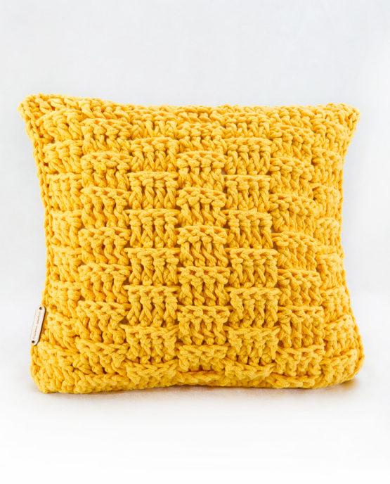 Ozdobna poduszka ze sznurka bawełnianego żółty koszyk