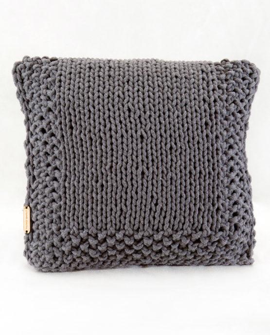 Poduszka ze sznurka bawełnianego grafitowy ryż