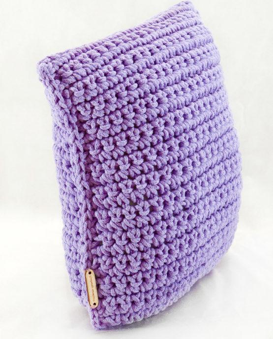 Poduszka ze sznurka bawełnianego lawendowy splot