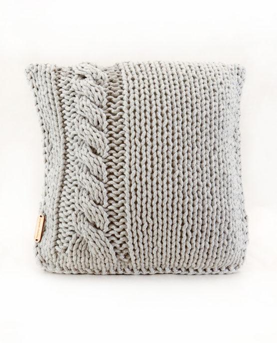 Poduszka ze sznurka bawełnianego szary warkocz
