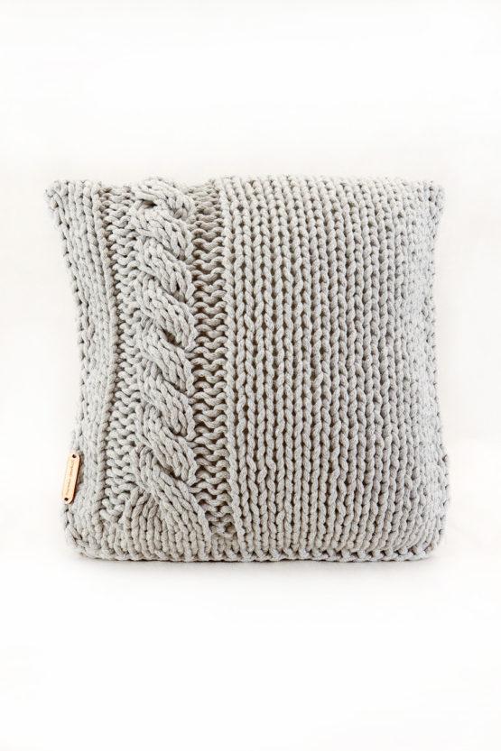 Poduszka vintage ze sznurka bawełnianego szary warkocz