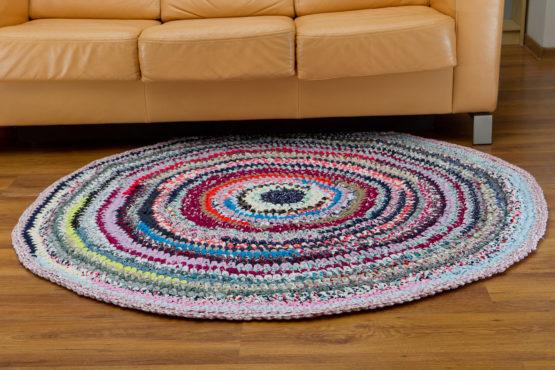 ręcznie robiony dywan zpagetti do salonu nahd made