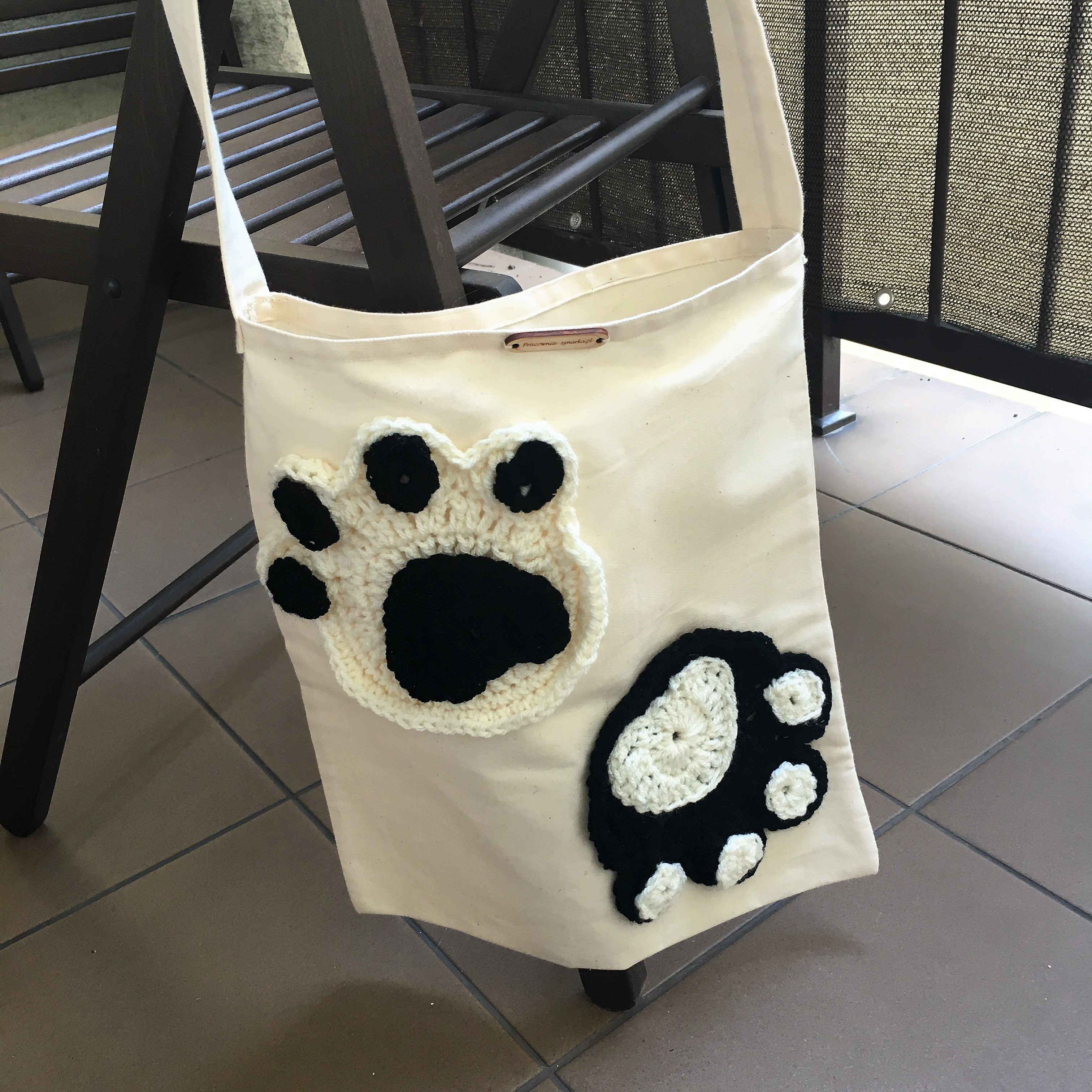 a43025710f27a Torba na zakupy z bawełny z aplikacją - kocie łapki