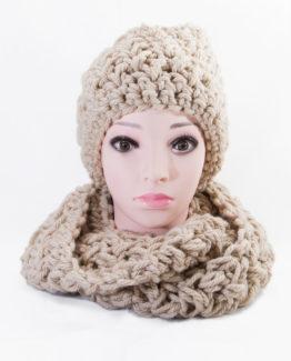 ręcznie wykonany na szydełku komplet czapka szalik handmade