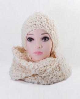 czapka i szalik komplet handmade na szydełku z grubej włóczki na zimę