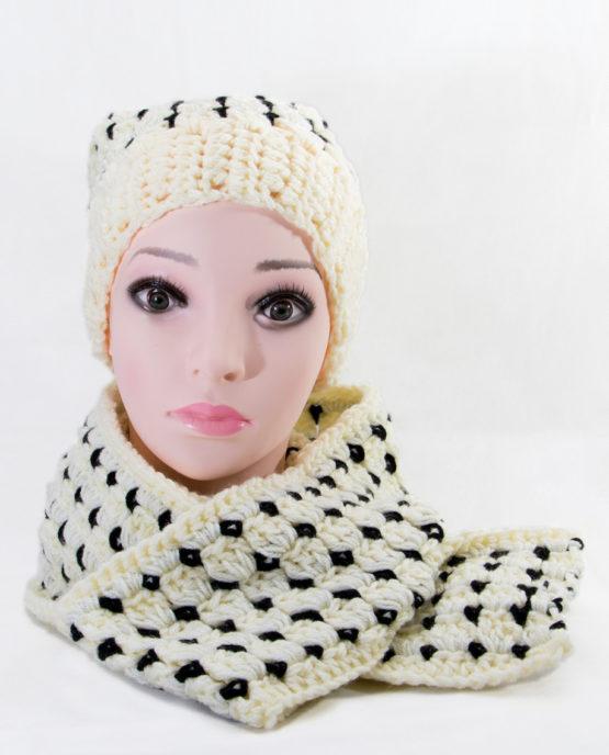 ręcznie robiony komplet czapka szalik handmade włóczka akrylowa komplet