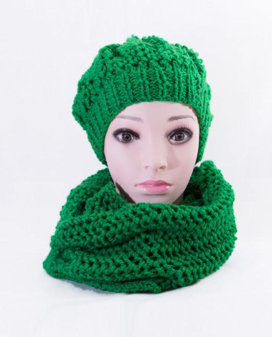 handmade czapka szalik włóczka wełna akrylowa komplet