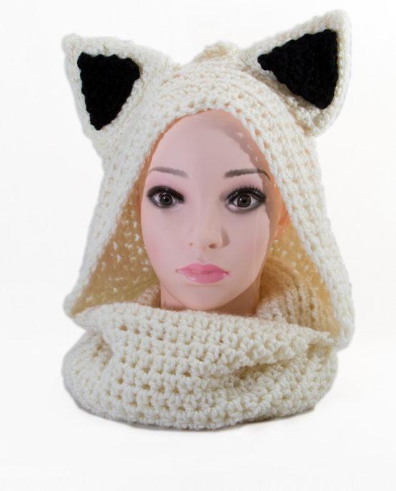 czapka komin ciepła włóczka szydełko biały kot