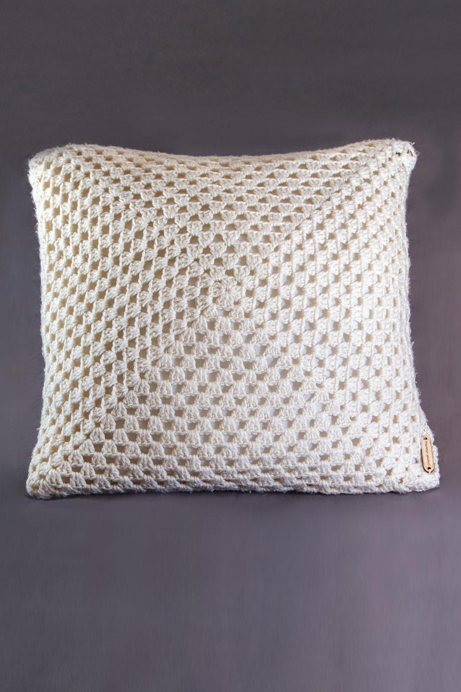 Poduszka Dekoracyjna Z Włóczki Akrylowej Biały Splot